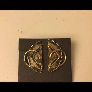Jewelry - Mix Metal Boho Tribal Brutalist pierced earrings